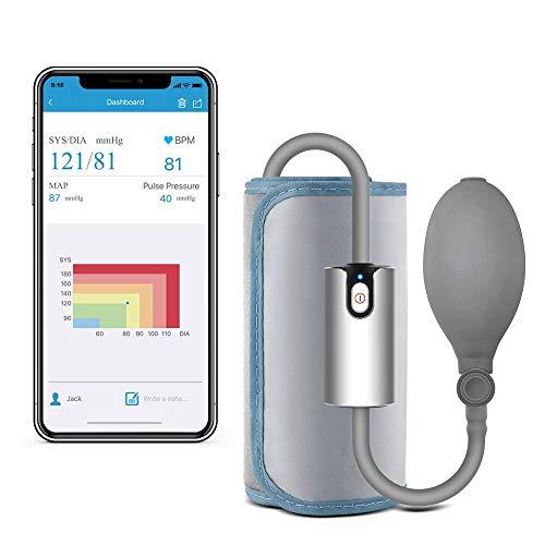 Blutdruckmessgerät Oberarm Bluetooth, Manuell Aufladbar Medizinisch Genau, Professionelle APP Messung von Blutdruck und Herzfrequenz, 22-42cm große Manschette, Heimgebrauch Reisenutzung