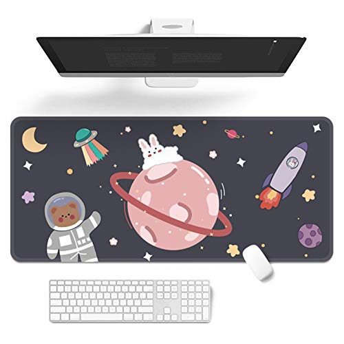 Kawaii Desk Mat,Cute Mouse Pad,Large Gaming Desk Mouse mat Cartoons Keyboard Pad,Laptop Desk Mat for Gaming, Writing, or Home Office Work 32 x 12 in
