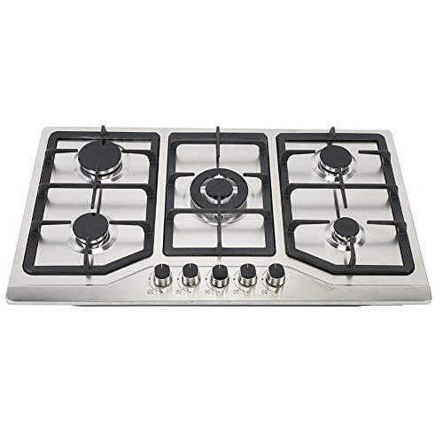 Placa de Gas, Estufa de Gas con 5 Quemadores Cocina de Gas de Acero Inoxidable Placa Integrado de Gas Natural/Propano 50 x 86 x 7 cm