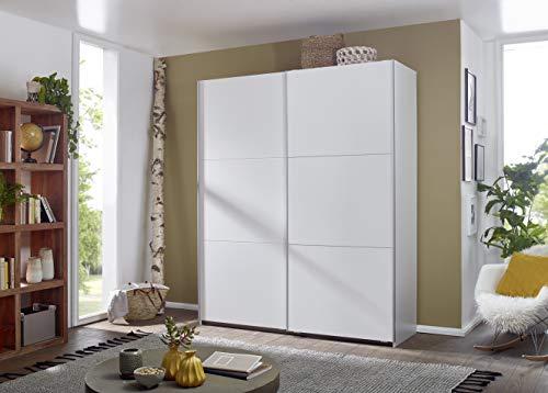 Rauch Möbel Santiago Schrank Schwebetürenschrank Weiß 2-türig inkl. Zubehörpaket Basic 2 Einlegeböden, 2 Kleiderstangen, BxHxT 175x210x59 cm