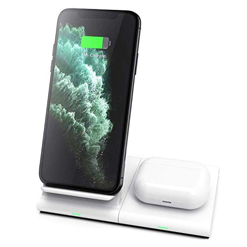 Hoidokly Wireless Charger Duo 10W Qi Induktive Dual-Ladestation Induktions ladegerät für Samsung S20/S10/S10e/S10+/S9/S8/S7/Note 10/9/8,Galaxy Watch/Buds, iPhone 11/11 Pro Max/XS/XR/X/8/Airpods Pro