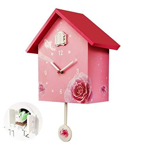 SUSHOP Kuckucksuhr Quarz-Wanduhr| Modern Design Vogel-hängende Uhr Dekoration Wecker Horologe Startseite Wohnzimmer Fashion House Wanduhr (Pink)|B | Dekoration > Uhren > Kuckucksuhren | SUSHOP
