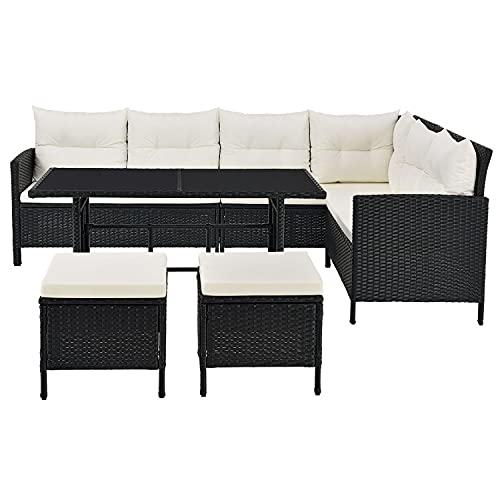 ArtLife Polyrattan Lounge Manacor schwarz – Gartenlounge mit Sofa, Tisch, 2 Hocker & Kissen – Gartenmöbel Set bis 7 Personen – Sitzbezüge in Creme