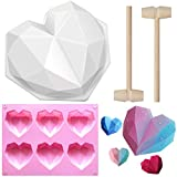 Amurgo Diamond Heart Silicone Cake Mold 7.8 inch, 1pc 6-Cavities Geometric Heart Love Shaped Molds...