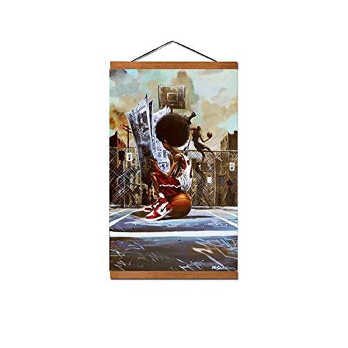 Lacvik Carteles e Impresiones de Arte Callejero Cancha de Baloncesto para niño Pintura en Lienzo Cuadros de Pared inspiradores para decoración de Dormitorio Regalo-40x60 cm con Marco