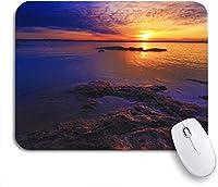 ROSECNY 可愛いマウスパッド ノートパソコン、マウスマット用のOzarksノンスリップラバーバッキングマウスパッドの一部として位置するトルーマン湖の夕日