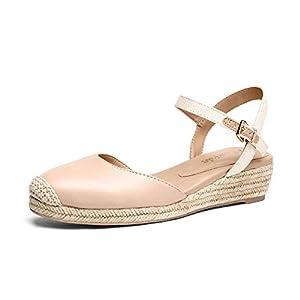 DREAM PAIRS Women's DPW211 Platform Ankle Strap Closed Toe Espadrille Wedge Sandals, Apricot Nude, Size 8.5
