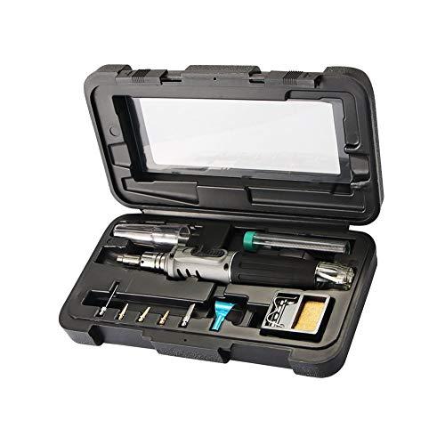 Herramientas electrónicas, Soldador Kit de Gas Soldador de Hierro Set 10 en 1 Kit de Soldadura Automática Encendido Portátil en Forma de Pluma Gris