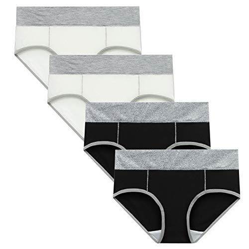 Tyoby Unterhosen Damen Baumwolle Slips Mehrpack Hipster Bequeme Weiche Hoch Taillierte Unterwäsche Atmungsaktive Slips Stretch-Slips 4er Pack(mehrfarbig-4pc#14,M)