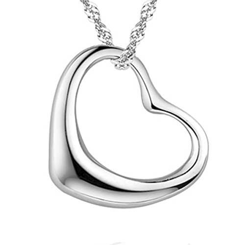 Pearl of Dream Perfect Love Open Heart [Large Size] Sterling Silver Pendant Necklace