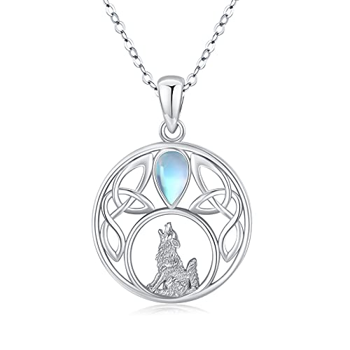 Wolf Necklace for Women Celtic Pendant Teardrop Moonstone Necklace Sterling Silver Animal Howling Wolf Jewelry for Women Girl Teen