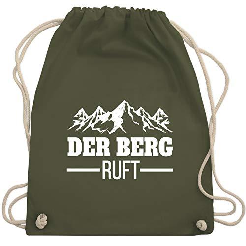 Après Ski - Der Berg ruft - weiß - Unisize - Olivgrün - The mountains are calling and I must go - WM110 - Turnbeutel und Stoffbeutel aus Baumwolle