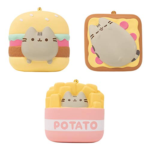 Pusheen Official Licensed Junk Food Slow Rising Squishy Toy [Square Series] (Pizza & Hamburger & Fries, 3 Inch, 3 Piece Set) [Birthday Gift Box, Party Favors, Stress Relief Toys for Kids, Adults]