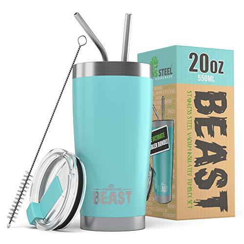 BEAST Edelstahl Becher Vakuumisolierte Tasse Kaffeebecher Doppelwandige Reiseflasche Thermobecher mit Spritzfestem Deckel, Paket mit 2 Strohhalmen, Rohrbürste & Geschenkbox (20oz, Blau)