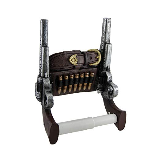 Wild West Six Shooter Double Pistols Toilet Paper Holder by DWK | Western Gungliner Holster Home Decor and Gifts