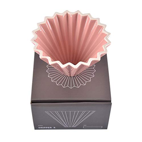Keramik-Kaffeefilter-Tasse, Handgemachte Kaffee-Filter-Tasse, Origami-Filter-Tasse, V60-Trichter, Tropfentyp, Hand-Tasse-Filter-Kaffeekanne, 01 Pink