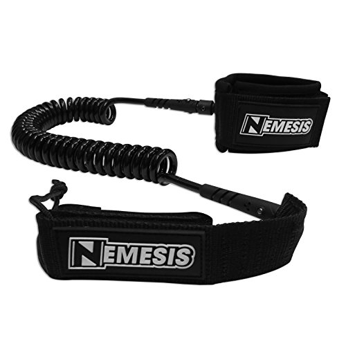 Own the Wave 'The Nemesis' Premium 10' Stand Up Paddle Leash Coiled - Stainless Steel Double Swivels and Triple Rail Savers - for Paddleboarding and Surfing (Black)