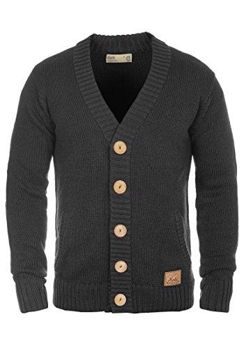 !Solid Payton Herren Strickjacke Cardigan Grobstrick Winter Pullover mit V-Ausschnitt, Größe:L, Farbe:Dark Grey Melange (8288)