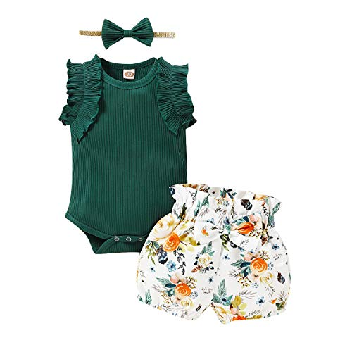 Baby Girl Summer Outfit Sleeveless Ruffle Bodysuit Tops Bowknot Floral Shorts Set 3-6 Month Infant Girl Clothes