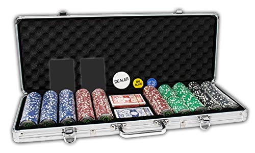 Da Vinci Professional Casino Del Sol Poker Chips Set with Case (Set of 500), 11.5gm, with Upgraded Case, 2 Decks of Playing Cards, Cut Cards and Dealer Buttons