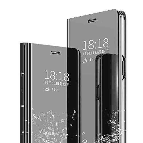 TenYll Funda para Xiaomi Redmi Note 8 Pro, Flip Cover Carcasa, Inteligente Case [Soporte Plegable] Caso Duro con del sueño/Despierte Función -Negro
