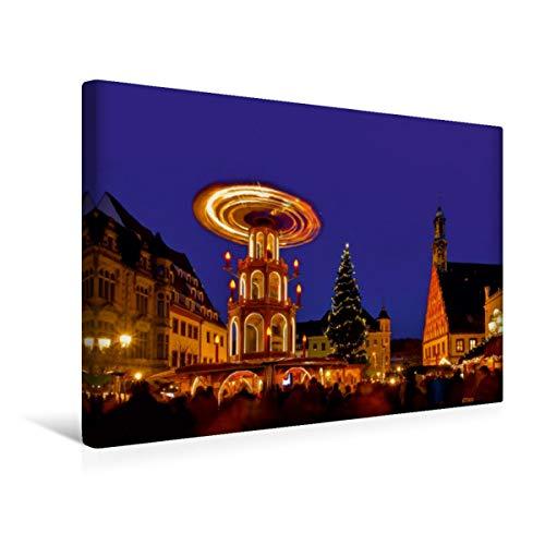 Calvendo Premium Textil-Leinwand 45 cm x 30 cm quer, Weihnachtsmarkt Zwickau   Wandbild, Bild auf Keilrahmen, Fertigbild auf echter Leinwand, Leinwanddruck: Weihnachtliches Deutschland Orte Orte