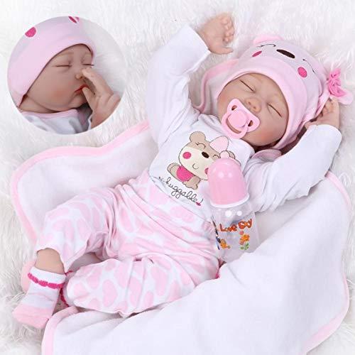 ZIYIUI Réaliste Poupée Reborn 22 inch 55cm Poupée Reborn Baby Doll Bebe Reborn Fille Souple Silicone Vinyle Dormir Nouveau-Né Bébé Fille Garcon Poupee Jouet