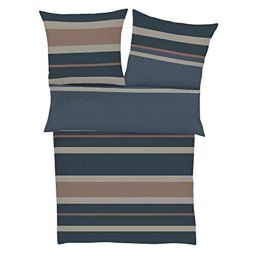 BUGATTI 5612 Bettwäsche 155x220 cm - Satinbettwäsche dunkelblau, 100% Baumwolle, 2 teilig mit Reißverschluss