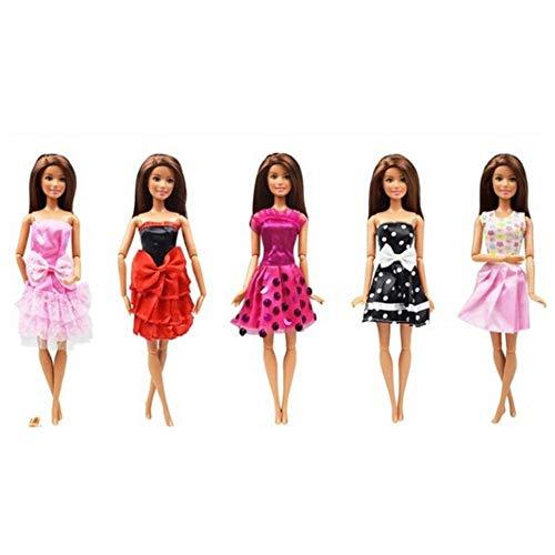 Paquete de 5 vestidos de muñeca exquisitos vestidos de moda de punto vestidos de fiesta vestidos de disfraces de juguetes para niños regalo de Navidad cumpleaños