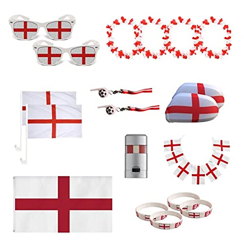 UMOI England Fanartikel Set zur Europameisterschaft 2021 WM, Fanmeile, Public Viewing, Olympia, Fußball (Set)