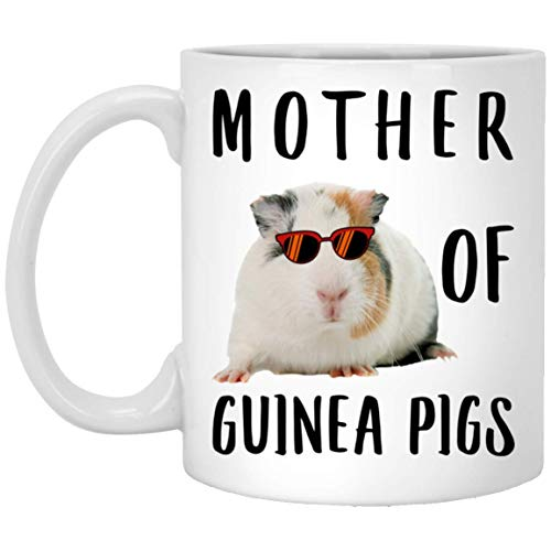 N\A Funny Mother of Guinea Pig Wihte Orange Grey Sunset Retro White Coffee Mug 11oz