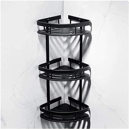 NLRHH Badezimmerregal Eckregal Raumregal Aluminium Badezimmer Duschregal 1 2 3 Etagen Wandmontage Bad Stroge Regale mit 2 Haken Bohren 0728 (Größe, 1 Ebenen), 3 Etagen (Größe : 3 Ebenen)