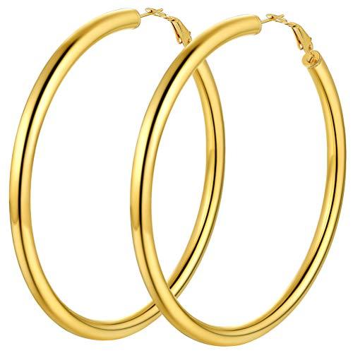 PROSTEEL Hoop Earrings Large Gold Plated 18K Women Big Huggie 80MM Gold Hoop Earrings