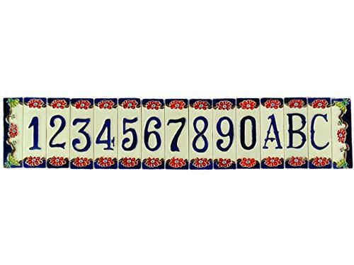 Hausnummern aus Keramik,Hausnummer aus Keramik mit Blumen,Keramikobjekt für den Außenbereich farbig nfp Maße:Ziffern H 11,3cm,L 3,7cm,dicke 0,8cm.Rahmen H11,3cm,L3,3cm,dicke 0,8cm