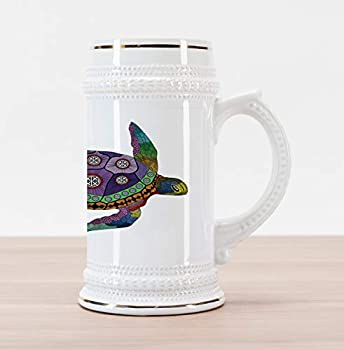 Ambesonne Psychedelic Beer Stein Mug Sea Turtle Colorful Ornamental Style Tattoos on Animal Art Work Decorative Printed Ceramic Large Beer Mug Stein 30 oz Purple Orange