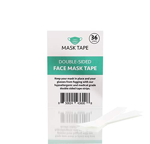 Face Mask Tape | Keep Masks from Slipping Down and Glasses from Fogging Up | 36 Double Sided Tape Strips | Hypoallergenic and Medical Grade