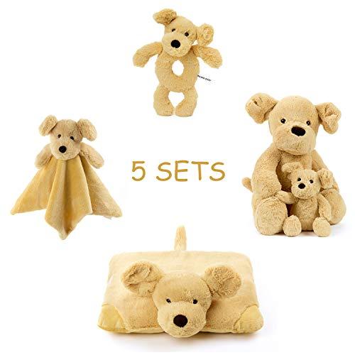 FRANKIEZHOU Unisex Baby Bedding Puppy Cute Dog Plush Toy Set with Plush Stuffed Animal Snuggler Blanket,Soft Ring Rattle,Baby Plush Pillow-Buy 1 Get 5 Best Gift for Boys Girls Kids
