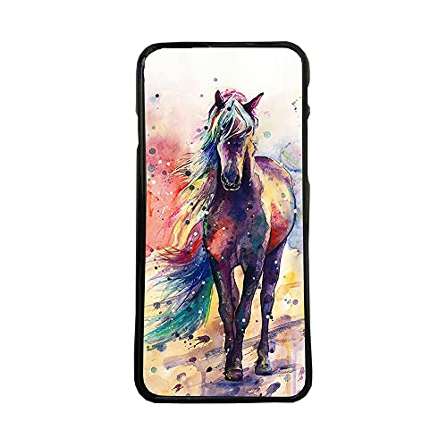 afrostore Funda Carcasa de móvil para Apple iPhone 7 Plus Cuadro Caballo TPU Borde Negro