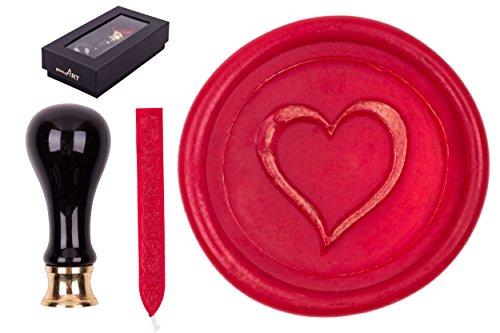 Set di sigilli Rimini, timbro per sigillo, incluso1bastoncino di ceralacca A cuore cuore