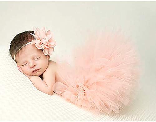 Baby Photo Props Newborn Tutu Skirt with Matching Headband Baby Photography Outfit Tutu Dress product image