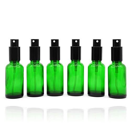 Yizhao Verde Bottiglie Spray Vetro 30 ml, con Vaporizzatore Fine e Spruzzatore Pompa di Metallo, per Profumo, Aromaterapia,Olio Essenziale - 6 Pcs
