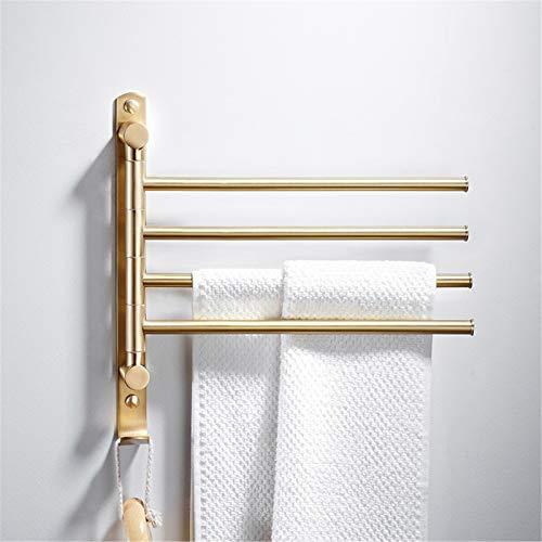Toallero giratorio de cobre montado en la pared con 4 barras giratorias, soporte para toallas para cocina, baño, inodoro