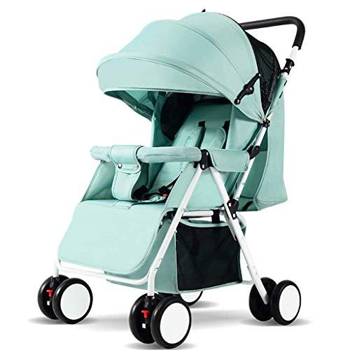 MNBV Cochecitos, Cochecito de bebé, 3 Modos, Construcción Duradera, Cesta de Almacenamiento Extragrande, Diseño Plegable Compacto (Color: Verde-A)