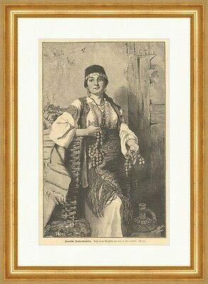 Kunstdruck Bosnische Nußverkäuferin Fortunski Handel Tracht Schmuck Holzstich E 6796 Rahmen