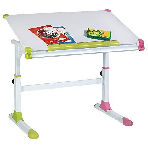 CARO-Möbel Kinderschreibtisch Schülerschreibtisch Helena höhenverstellbar und neigbar in weiß mit wechselbaren Kappen in grün und rosa pink für Jungs und Mädchen