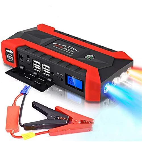 GGMWDSN Arrancador de Baterias de Coche de 20000 Mah, Cargador de BateríA PortáTil para Exteriores, Cargador de BateríA (Rojo, ConfiguracióN Simple)
