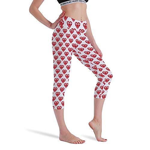 DKISEE Vrouwen Hoge Taille Zeven Punten Yoga Broek Rood Metselwerk Gedrukte Sportbroek Leggings Hardlopen Gym Sweatpants voor Vrouwen