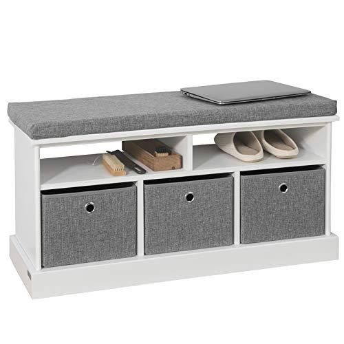 SoBuy FSR67-HG Schuhtruhe Sitzkommode Schuhschrank mit 3 grauen Körben und Ablage Sitzbank mit Sitzkissen Spielzeugkiste weiß BHT ca.: 96x50x35cm