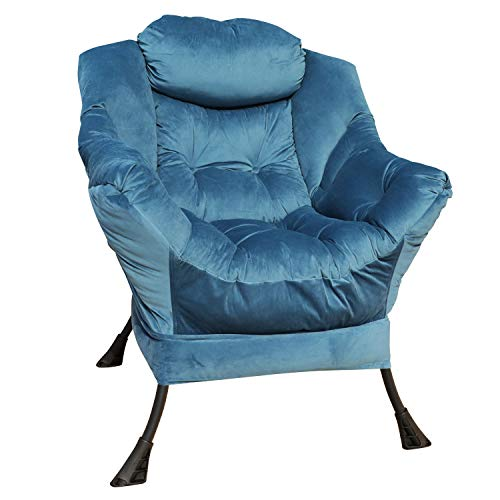 GOLDSUN Accent Chair Lazy Reclining Armchair with Removable Metal Legs and High-Density Foam, Comfy Velvet Fabric Upholstered Single Sofa Chair for Living Room, Bedroom, Office (Blue)