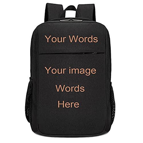 Custom Backpack for Men Women Personalized Back Pack for Teen (Black)